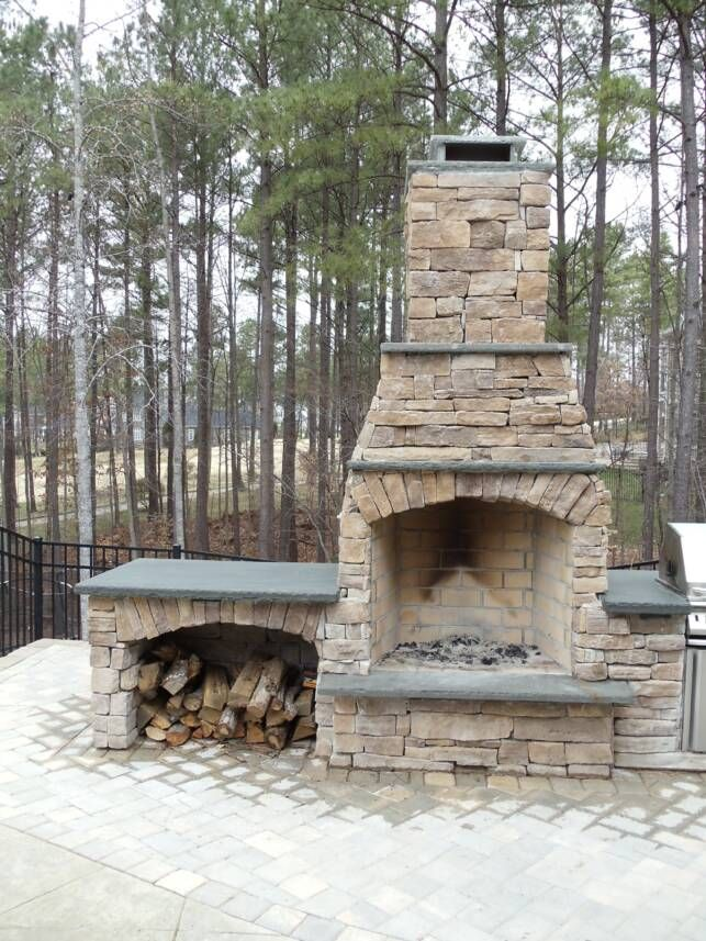 23 best images about outdoor fireplaces on pinterest for Outside fireplace plans