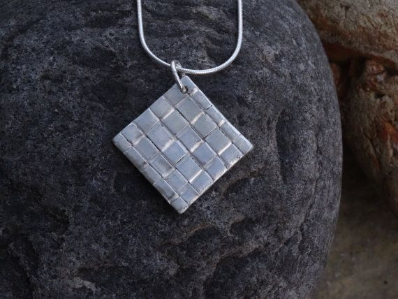 Silver necklace ~ woven texture fine silver  diamond ~  gift for her, ideas for ladies, present for wife, Bridesmaid  necklace, by silverwindsjewellery. Explore more products on http://silverwindsjewellery.etsy.com
