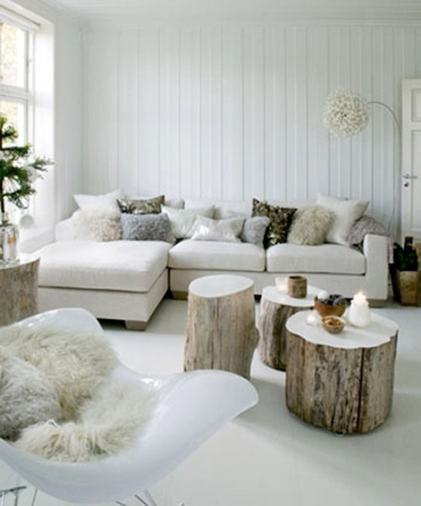 Living room... love te tree stump tables! I might just do this!