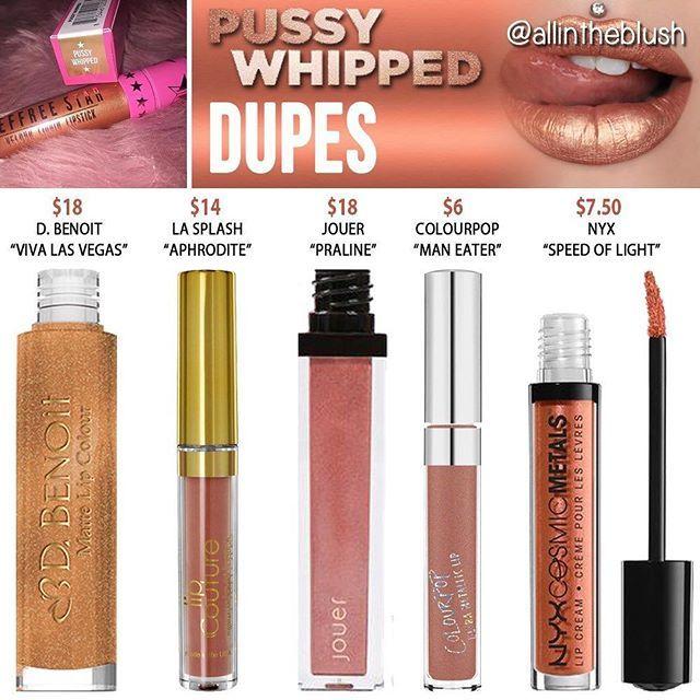 Jeffree Star Pussy Whipped metallic liquid lipstick dupes