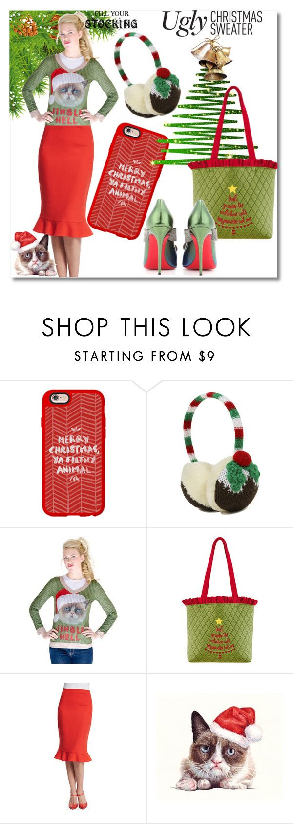 """Ugly Christmas Sweater / Grumpy Cat"" by emperormpf ❤ liked on Polyvore featuring Casetify, George, C & F, Oscar de la Renta and Christian Louboutin"