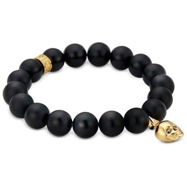 Northskull Designer Men's Bracelets Matte Black Onyx/Gold Skull... ($275) ❤ liked on Polyvore featuring men's fashion, men's jewelry, men's bracelets, black, mens bead bracelets, mens bracelets, mens gold bracelets, mens charm bracelet and mens yellow gold bracelets