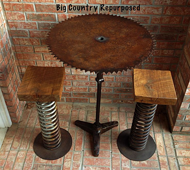 Wonderful This Is A Bar Height Table Using Antique Sawmill Blade And Base. The Stools  Have