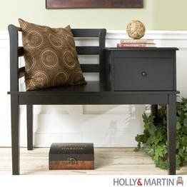"Holly & Martin Yukon Gossip Bench - Black by Holly & Martin. $158.75. Solid wood construction.. Combination desk, chair, and telephone table.. Color: Black. Size: 33.25""H x 38""W x 20""D. Sliding drawer in tabletop.. A true classic, this black gossip bench is great in entryways, bedrooms, or even kitchens. With a convenient place to sit, take your shoes off, write the grocery list, and talk on the phone, there is no doubt you will see why this traditional piece has s..."