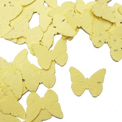 Pastel Yellow Butterfly Shaped Plantable Seed Paper Confetti from Daisy Giggles