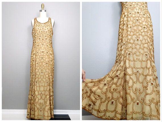 ZWARE gouden kralen jurk • goud verfraaid jurk • gouden godin Art Deco Gown