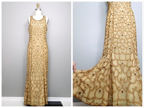 HEAVY Gold Beaded Gown Gold Embellished Dress Golden by braxae
