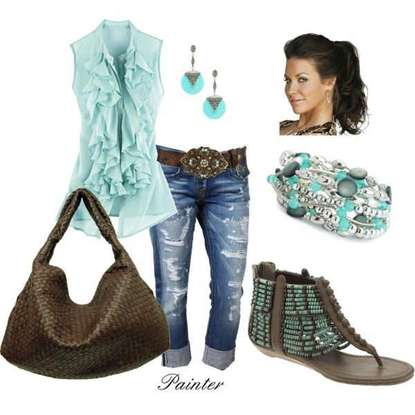 ~Ruffles and Aztec~, created by mels777 on Polyvore.....pants would have to be switched tho, way to holey for me!!