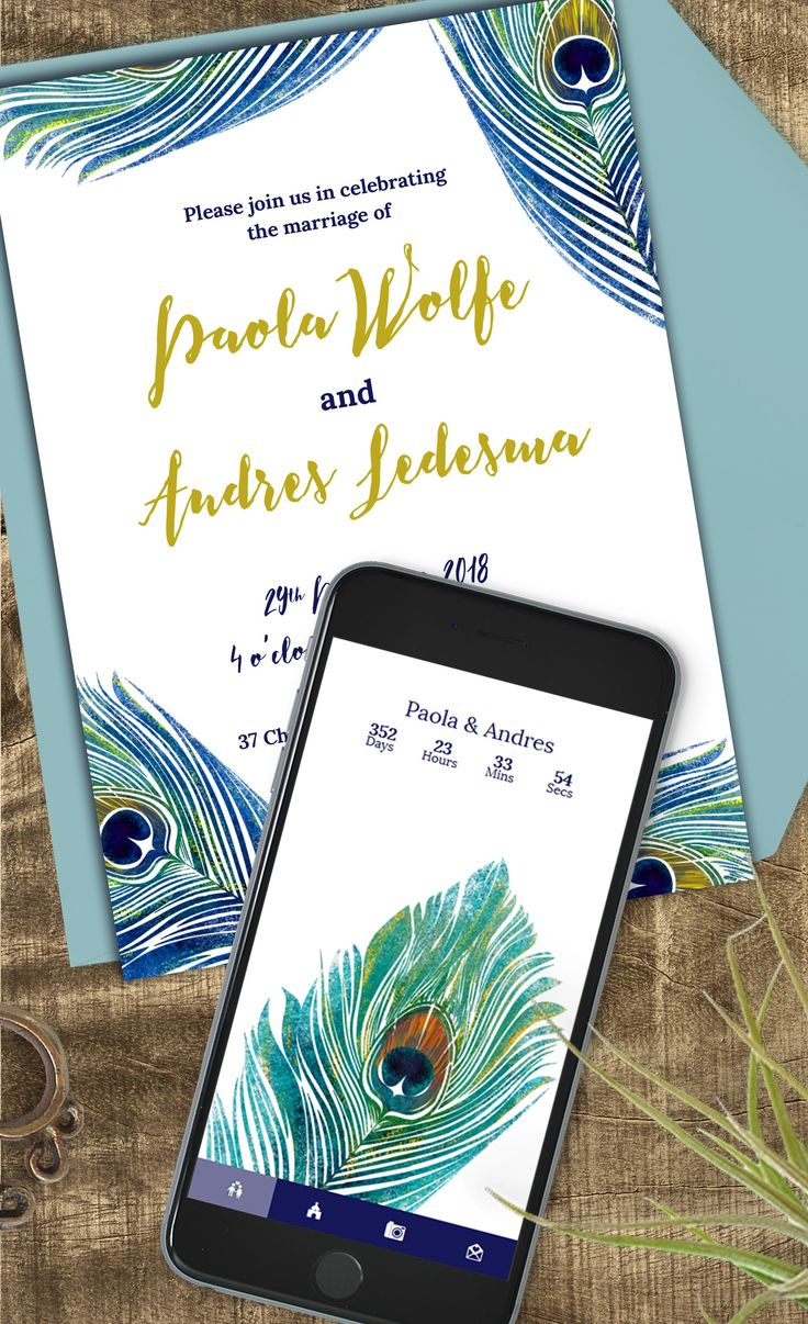 Peacock feather invitation suite with webapp in the same design