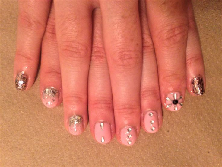 Pink nails with sparkle and bling! 😉