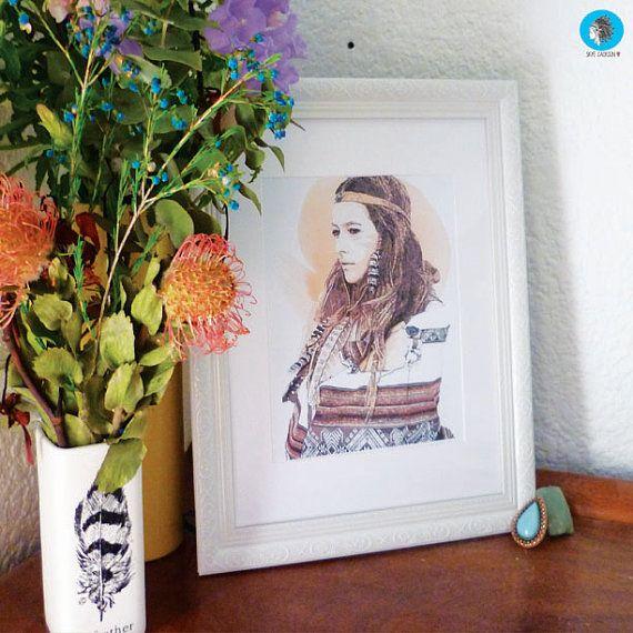 Wild & Free illustration print indian girl boho by SkyeJack, $20.00