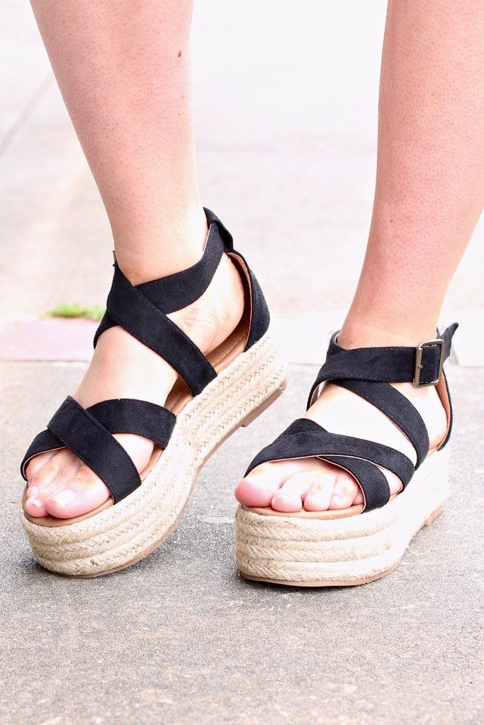 9970a941ab Super cute flatform / platform espadrille sandals with a criss cross  strappy design. These buckle