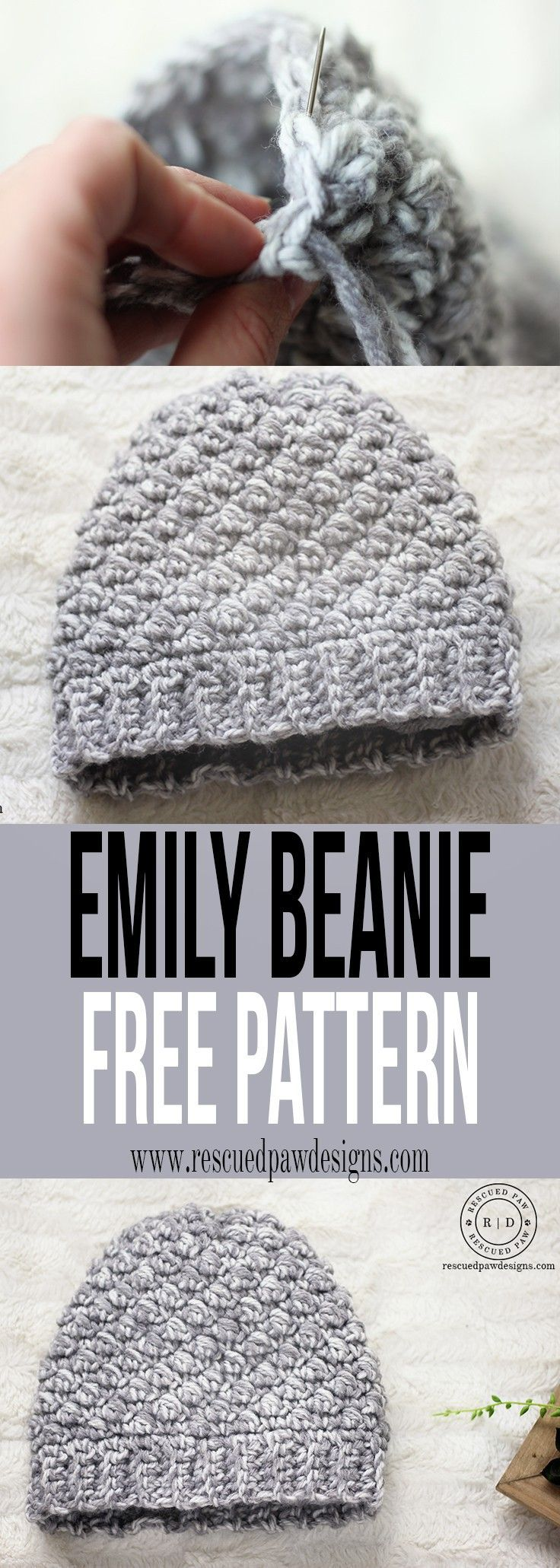 Emily Diagonal Beanie Crochet Pattern by Rescued Paw Designs. Click to Read or Pin and Save for Later! http://www.rescuedpawdesigns.com