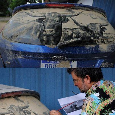 Best Art Drawn On Dirty Vehicles Images On Pinterest Vehicles - Scott wade makes wonderful art dusty car windows