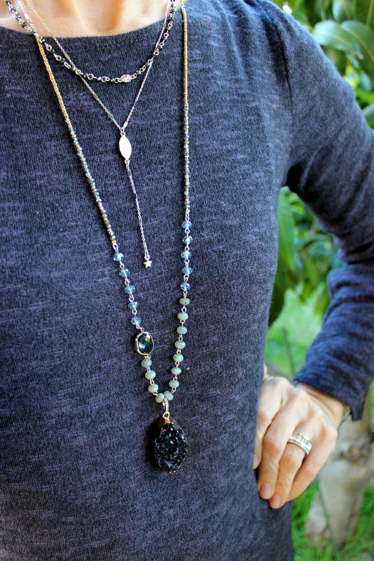 Starry Night convertible necklace with removable druzy pendant, beading, dual tone, mixed metal, perfectly layered and ready to pair with your favorite spring 2018 tops