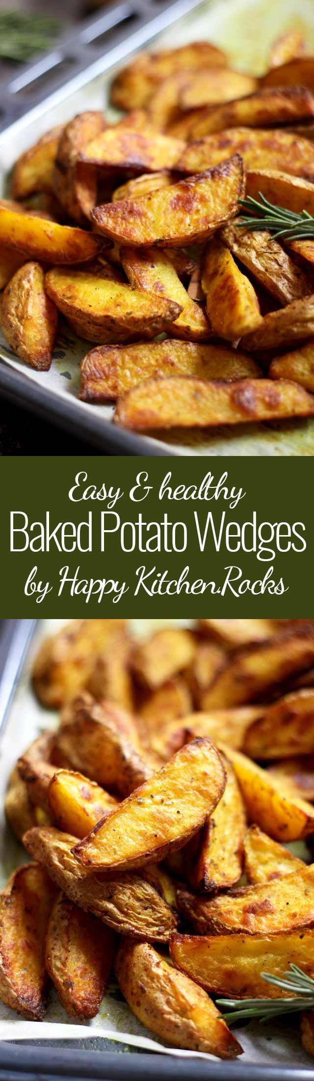 Easy and perfectly crispy oven Baked Potato Wedges will become your go-to side dish or appetizer. Much healthier than french fries and the tastiest potatoes you'll ever taste! #potatoes #potatowedges #glutenfree #sidedish #wedges #frenchfries #potatofries #plantbased #plantbasedeating #healthyeating #vegetarian #recipe #recipes #vegan #appetizer #food #comfortfood #sheetpan #easyappetizer #easyrecipe #healthyrecipe