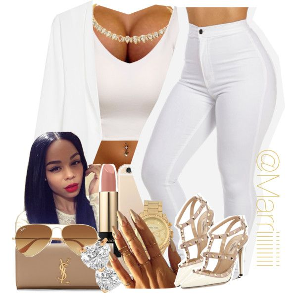 Bet Awards 2015 by trill-forlife on Polyvore featuring polyvore fashion style MANGO Valentino Yves Saint Laurent Michael Kors Allurez Ray-Ban Lancôme