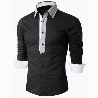 Larga para hombre de las camisas de vestir de manga delgado cuello de descubierta ajuste en Banggood