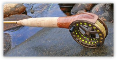 """a Small Stream centre axis rod using a Steffen Brothers Fibreglass 6'6"""" 2-3wt. blank and with a specially commissioned Danielsson Original Midge centre axis mount fly reel."""