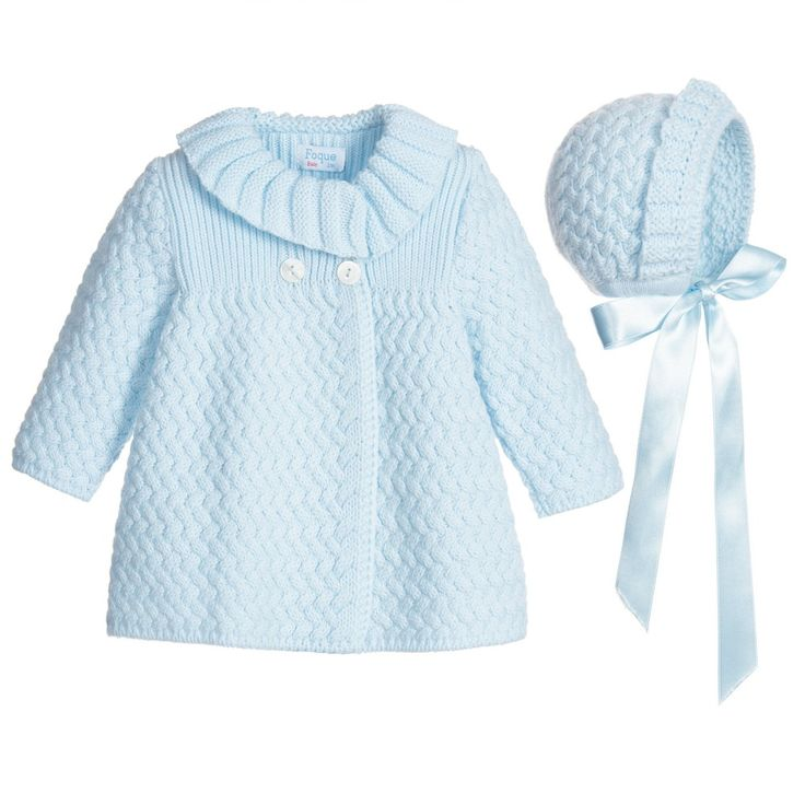 Baby girls pale blue knitted coat and bonnet by Foque. In a soft feel, this traditionally styled design has a ribbed shawl collar with button fastening and a matching bonnet with ribbon ties.
