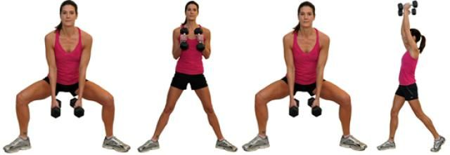 Killer combination exercises that work your entire body: Squat and Curl with Rotating Press