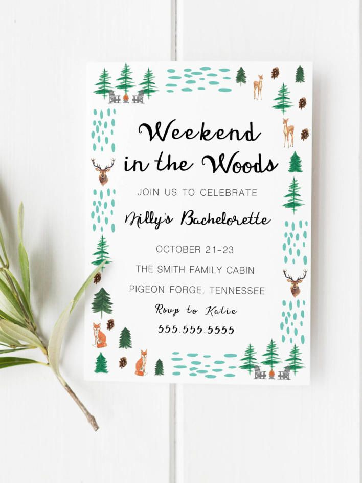 Rally your bridesmaids together for a rustic weekend in the woods with camp-inspired, printable bachelorette party invitations.