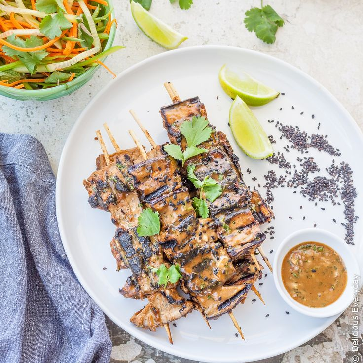 These Grilled Eggplant Kebabs are grilled until soft and caramelised in a tahini satay marinade. A fun vegan twist on the traditional satay.