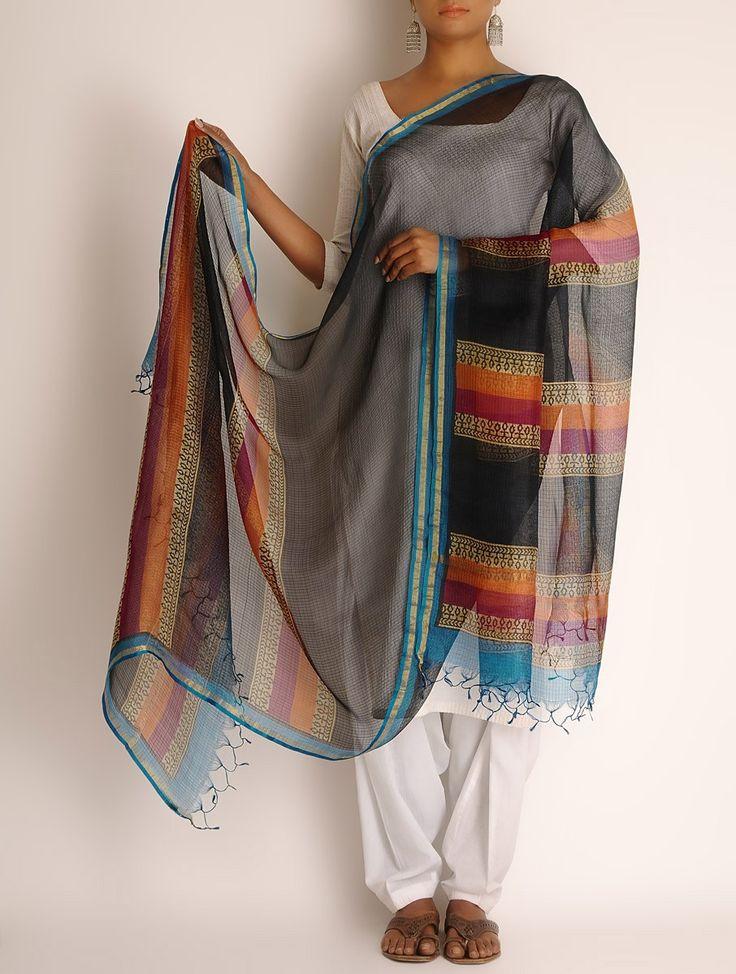 Buy Black Multi Color Kota Doria Silk Block Printed Dupatta Carnival Dupattas Online at Jaypore.com
