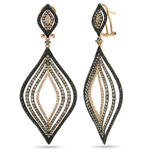 5.48ct 14k Rose Gold White, Champagne & Black Diamond Earrings