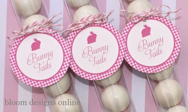 Bunny tails: Happy Bunnies, White Chocolates, Bunnies Tail, Tail Pink, White Tags, Easter Flags, Bloom Design, Easter Ideas, White Gumball