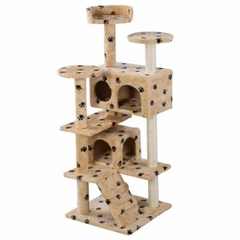 Nova Torre Árvore Do Gato Condomínio Arranhar Móveis Pós Kitty Pet House Play Bege Patas PS5791YEDOG
