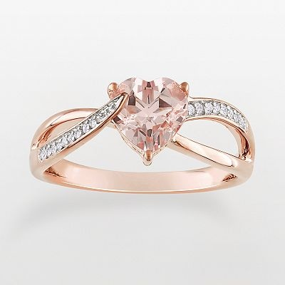 14k Rose Gold Over Sterling Silver Morganite and Diamond Accent Heart Ring