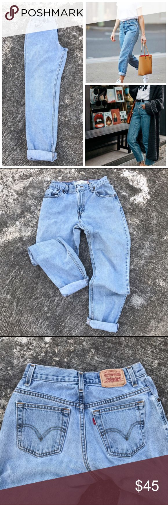Levi's 550 Mom Jeans Tapered Light Wash Tapered The perfect mom jeans.  So many ways to style them! These are in perfect condition with only two small distress marks on the outside of the right leg (pictured) It just makes them cooler 😎 Size 6L so perfect for cuffing!  Offers welcome! B3 Levi's Jeans