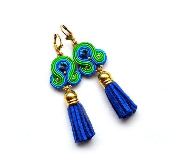 Boucles d'oreilles orecchini Blue green aquamarine by SaboDesign