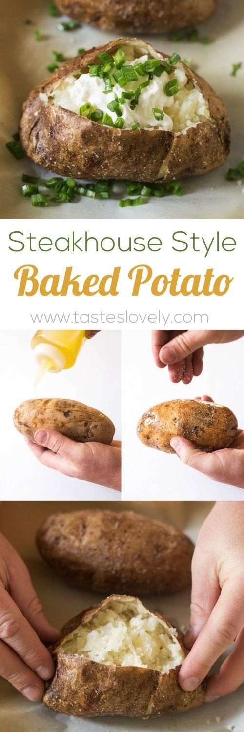 Steakhouse Style Baked Potato - the BEST baked potatoes I've ever had! #vegetarian #glutenfree