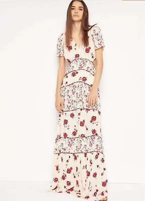 9040f738cf6 New BA SH BASH Woman Floral Cut out Side Full Long Boho Maxi Dress White  AA864