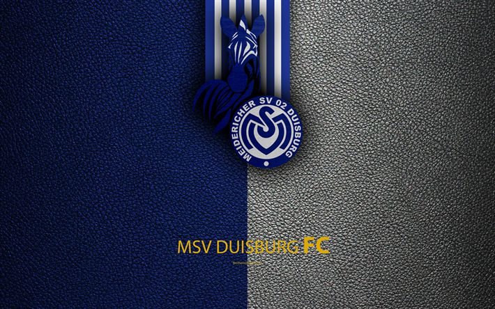 Download wallpapers MSV Duisburg, 4k, leather texture, German football club, logo, Duisburg, Germany, Bundesliga 2, second division, football