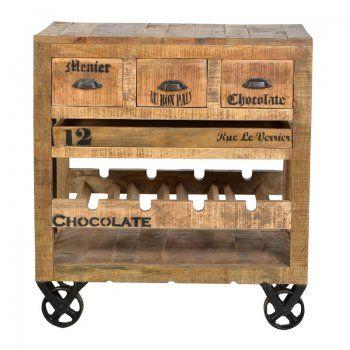 Keukenkast Lavis Mila | keukentrolley van mangohout met vintage uitstraling | wijnrek van hout