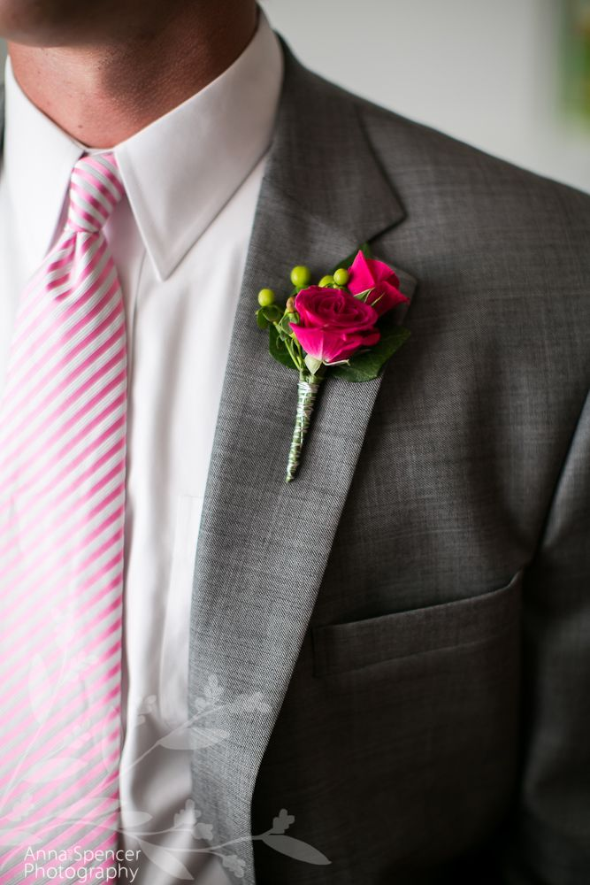 Anna and Spencer Photography, Wedding Flowers, Magenta Boutonniere.