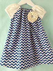 Really cute Navy Ruffle Flower Chevron Dress by PrettyBabyThings, $39.95