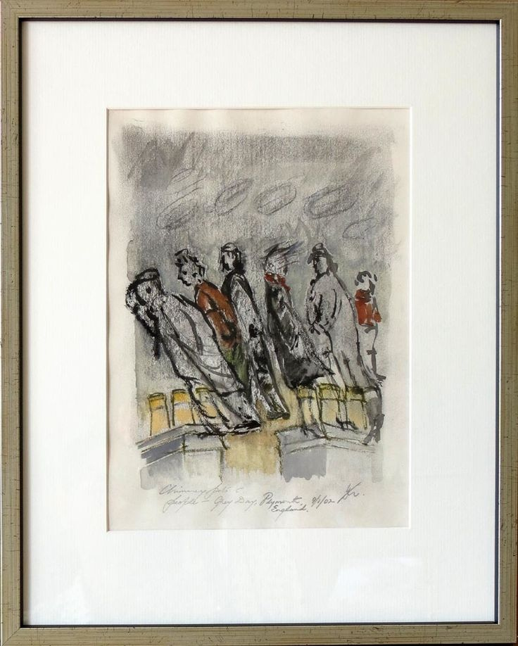 Wind howling near you? This #DaphneMason original artwork looks like Auckland feels today! http://www.saraban.co.nz/gallery/Figure%2Bpaintings%2B%25241000%2B-%2B%25242500/dm010-daphne-mason-chimney-pots-and-people-grey-day-plymouth-england-2002/283974?view=grid