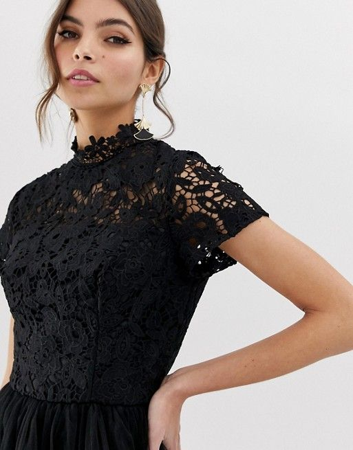 ca5850748b73 Chi Chi London | Chi Chi London high neck lace midi dress with tulle skirt  in black
