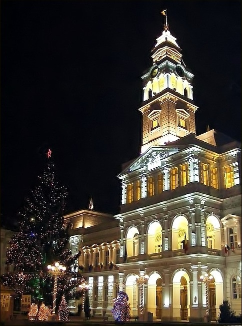 Christmas tree at Town Hall, Arad, Romania