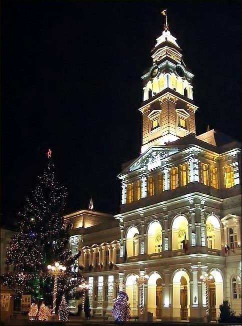 Christmas tree at Town Hall, Arad, Romania