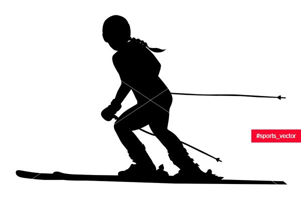 alpine skiing female athlete downhill black silhouette