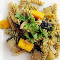 Fusilli Pasta with Walnut Pesto, Eggplant, Butternut Squash