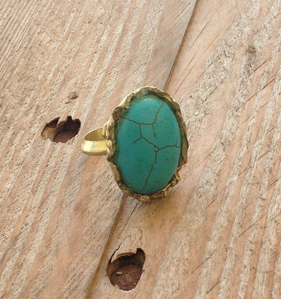 Blue howlite and brass ring adjustable band by RingTheRing on Etsy