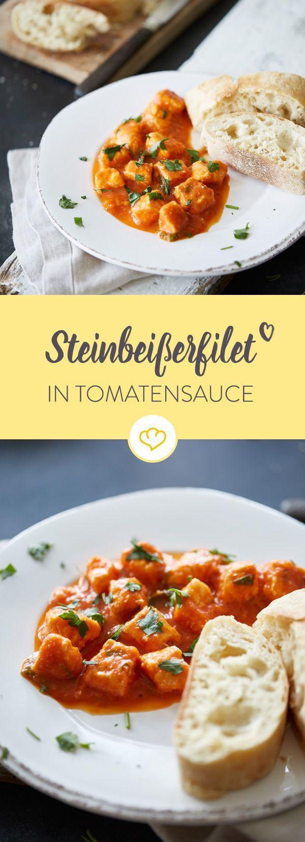 Ein mediterranes Gericht für gesellige Tapas-Abende: Das schmackhafte Fleisch des Steinbeißers harmoniert bestens mit der fruchtigen Pfirsich-Tomatensauce.