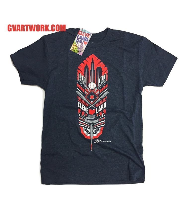 Navy Blue Cleveland Baseball Feather T shirt