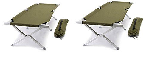 World Outdoor Products TWO Pack Military Style AIRCRAFT GRADE Aluminum Frame Cot with OD GREEN Washable and Mildew Resistant 600 D Polyester Fabric, Matching Carry Bag and TWO EMERGENCY WHISTLES! >>> Wow! I love this. Check it out now! : Hammock tent